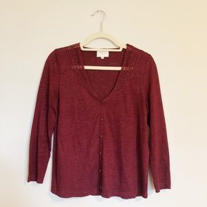 ✨ Sezane Linen Embroidered Button Down Cardigan ✨
